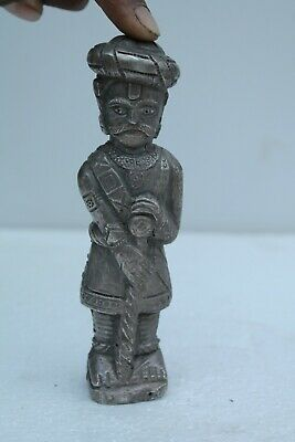 Antique Old Silver Plated coated Wooden watchman/darbar Collectibl NH1384