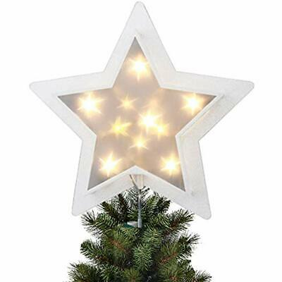 11 Inch Christmas Star Tree Topper Silver TPU Treetop Light With Warm White Led