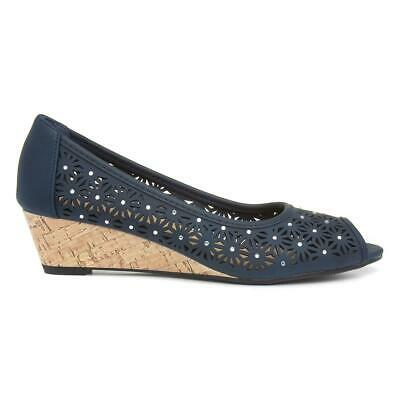 Womens Shoe Wedge Open Toe Court Shoe in Navy by Lilley Size UK 3,4,5,6,7,8,9