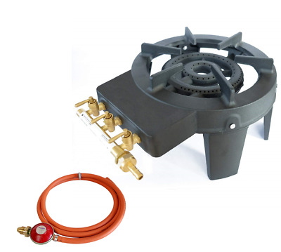 Triple Gas Ring 3 Boiling Burners Cast Iron Cooktop Large Cooker Stove