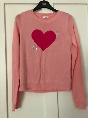 Girls Pink Heart Jumper From M&co Bnwot Age 13