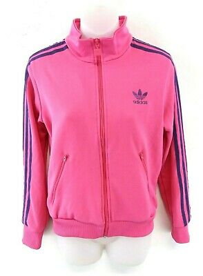 ADIDAS Girls Tracksuit Top Track Jacket 164 13-14 Years Pink Purple Cotton Poly