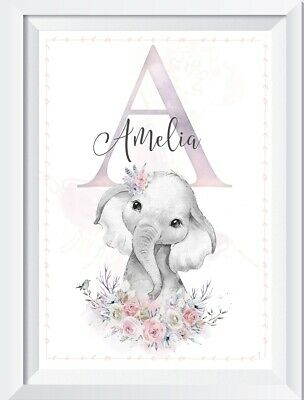 Personalised baby girl elephant picture print nursery walldecor christening gift