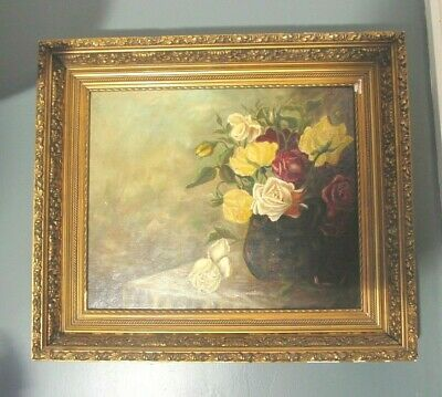 Antique 19th Century OIL PAINTING Canvas PINK White Red YELLOW ROSES Still Life