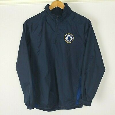 Chelsea FC Official Licensed Product Boy's Club Rain Jacket Navy Size LB