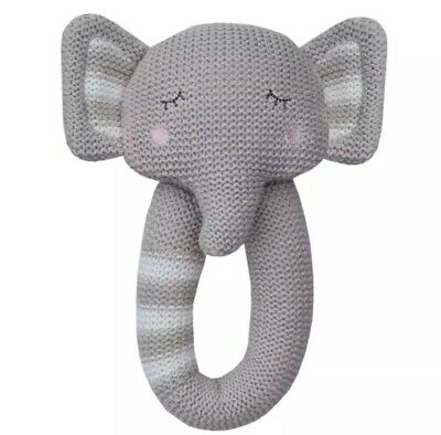 Elephant Knitted Baby Rattle Living Textiles 100% Cotton 035