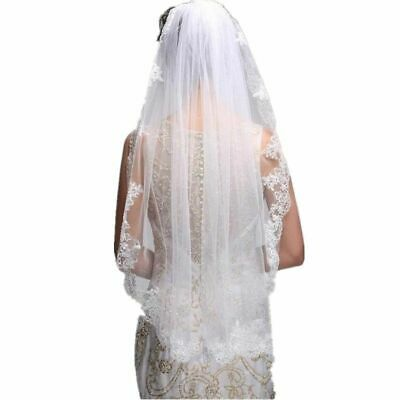 One Layer Bridal Veil White Ivory Tulle Beaded Edge Pearl Short Comb Wedding Use