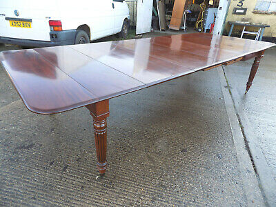 large,11 foot,antique,regency,extending,4 leaf,mahogany,dining table,reeded legs