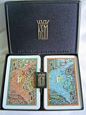 Double Deck Of Kem Playing Cards In Hard Plastic Case Jade Pattern