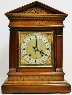 Antique W&H Carved Brickwork Architectural Musical 8 Day Ting Tang Bracket Clock