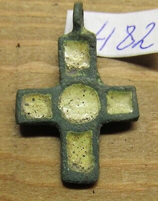 Viking Bronze double-sided cross with enamels. Kiev Rus 10-12 century. #482.