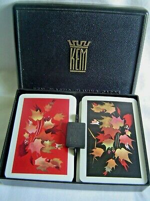 Double Deck Of Kem Playing Cards In Hard Plastic Case Maple Pattern