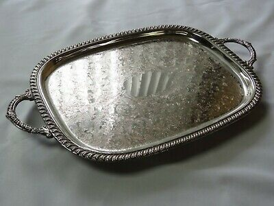 """Leonard Silverplate Footed Butlers Tray/ Platter 22"""" Vintage Victorian"""