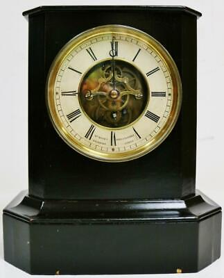 Wonderful Antique French Tic Tac Escapement Ebonised Cube Style Mantel Clock