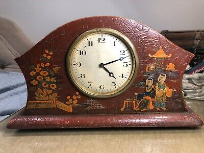 Rare Oriental 19th/20th century Chinoiserie? Chinese Relief Mantel Clock Swiss