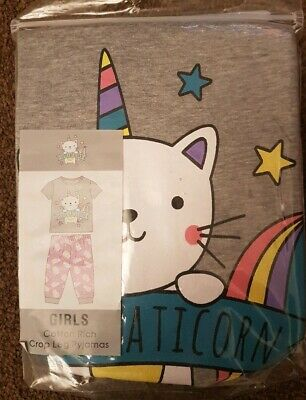BNWT Age 7-8 pink and grey Cute Caticorn Crop Leg Pyjamas