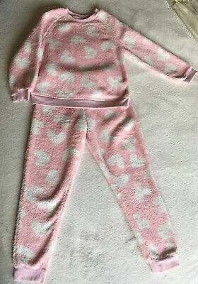 George Fluffy Very Warm Girls Pink White Hearts Pj 6-7 Years Excellent Condition