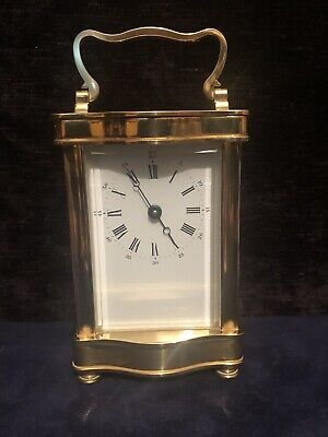 Vintage French L'Epee Brass & Bevelled Glass Carriage Clock & Key