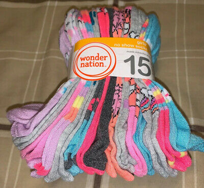NIP 15 Pair Girl Ankle Socks Large Shoe Size 4-10 Wonder Nation NWT Kid Children