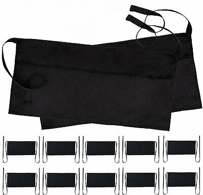 Wealuxe Professional Waitress Waist Aprons with 3 Pockets | Black | 12 Pack