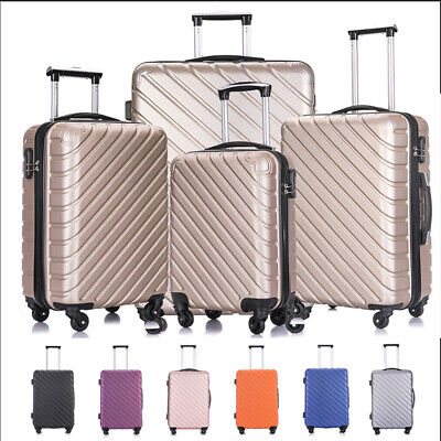3/4/5PCS ABS Spinner Hardshell Luggage Set Carry On Suitcase W/ Covers & Hangers