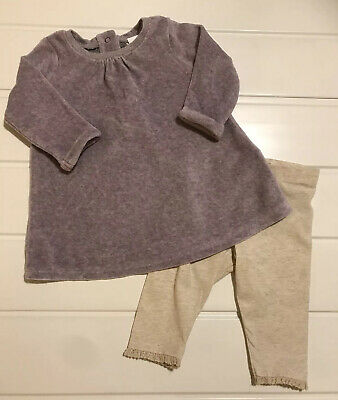 Next Baby Girls Age 3-6 Months Dress Soft Velour & Long Sleeve & Leggings Outfit