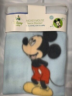 Disney Baby Mickey Mouse Fleece Printed Baby Blanket, Blue Boy Baby Shower Gift