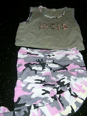 Pink camouflage leggings with crop top age 11-12