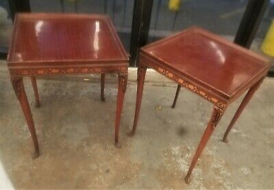 Pair of Antique French Provincial Louis XV Style Square Side End Tables