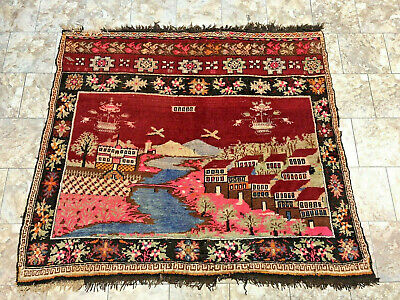 Vintage Caucasian Karabagh Pictorial Rug, Lead Seal Hand Knotted Wool 5.10' X 5'