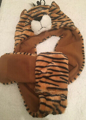 Boys Winter Warm Hat Scarf And Gloves Set Tiger 4-8 Years