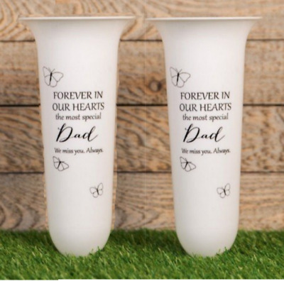 White Vase for Dad Forever in our Hearts Spiked Memorial Grave Flower