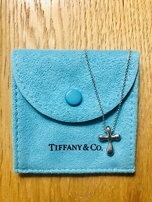 "Tiffany & Co. Elsa Peretti Cross Necklace, 16"" Chain, Sterling Silver"