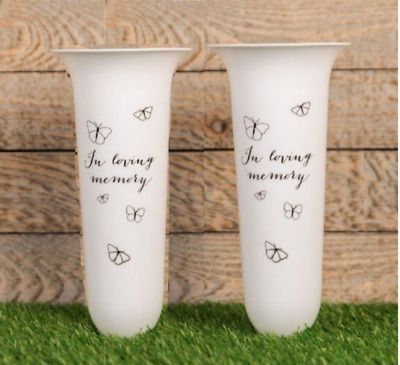 "White Vase ""In Loving Memory"" Spiked Memorial Grave Flower Vase Butterfly"