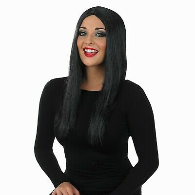 Womens Long Black Wig For Morticia Addams Family Halloween Fancy Dress Costume