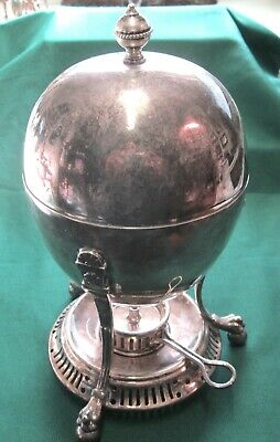 FINE ANTIQUE ENGLISH VICTORIAN FOOTED SILVER PLATE EGG CODDLER. Mkd. A1-RR.
