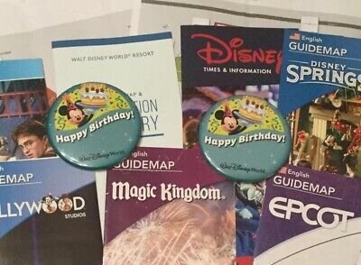 2 Happy Birthday Button Badges Disney + Disney World Universal Outlet Mall Maps