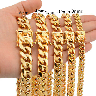 8mm-18mm Hot Mens Necklace Chain Miami Curb Cuban 316L Stainless Steel Gold Tone