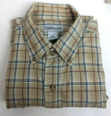 NWT Carhartt® Men/'s Fort Plaid Button Down COTTON  Shirt LARGE TALL RELAXED FIT