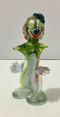 Vintage Murano Hand Blown Art Glass Clown Figurine Italy Colorful