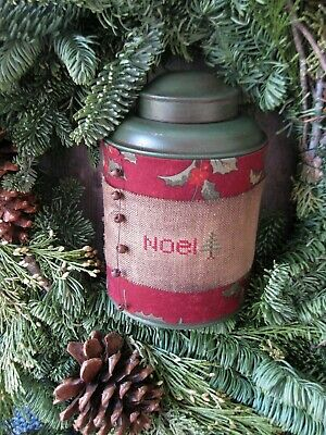 Early Antique Pantry Tin w Christmas Stitchery on Linen NOEL