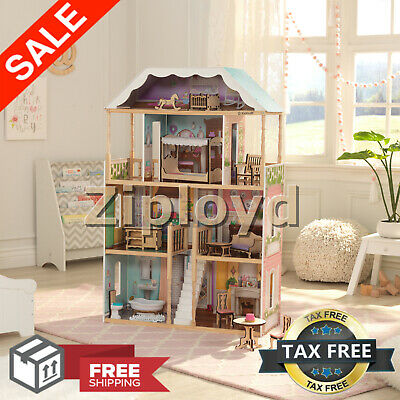 Barbie Size Doll House Girls Dream Play Playhouse Dollhouse Wooden Furniture