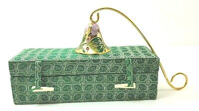 Cloisonne Brass Candle Snuffer Floral Gold Ornate Handle With Box New