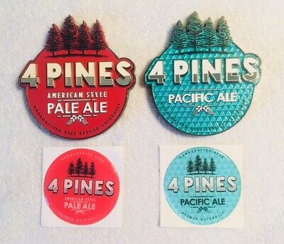 Tap Beer Decals 4 Pines Brewing Metal Badge with Acrylic Sticker Tops Mancave