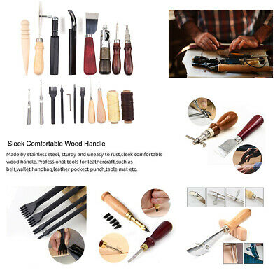 18Pcs Leather Craft Kit Stitching Sewing Beveler Punch Working Hand Tools NEW