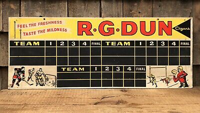 RARE Vintage 50s R.G. DUNN Cigars Smoke Tobacco Sport Score Table Sign 2 Sided