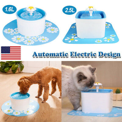 1.6L/2.5L Automatic Cat Dog Water Drinking Fountain Pet Bowl Drink Dish Filter