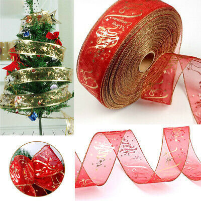 2M 63mm WIRED RIBBON RED & GOLD GLITTER SPARKLE CHRISTMAS CAKE GIFT TREE BOW NEW