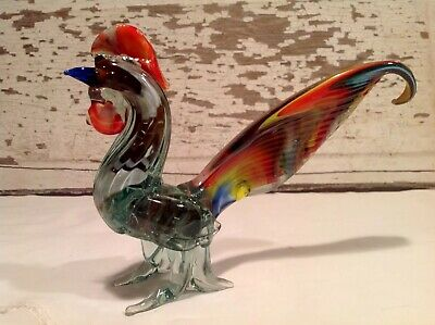 Vintage Murano? Italian Art Glass Multicolored Rooster Figurine