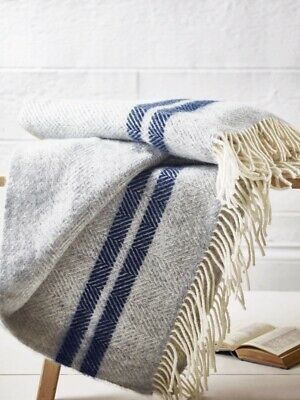 Cox And Cox Soft Wool Throw - Blue French Stripe New